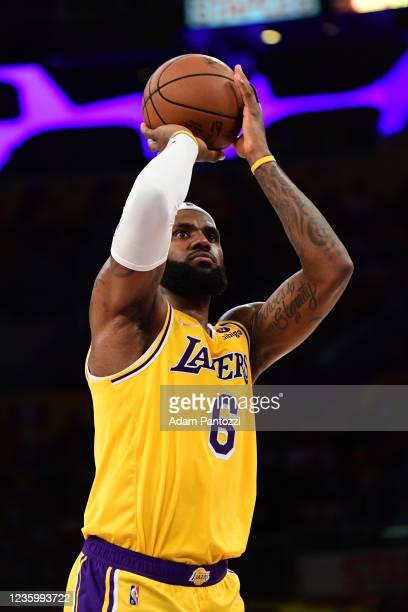 LeBron James of the Los Angeles Lakers shoots a free throw during the game against the Golden State Warriors on October 19, 2021 at STAPLES Center in...