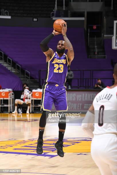 LeBron James of the Los Angeles Lakers shoots a three point basket during the game against the Portland Trail Blazers on February 26, 2021 at STAPLES...