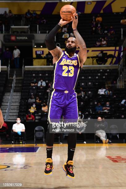 LeBron James of the Los Angeles Lakers shoots a three point basket during the game against the Sacramento Kings on April 30, 2021 at STAPLES Center...