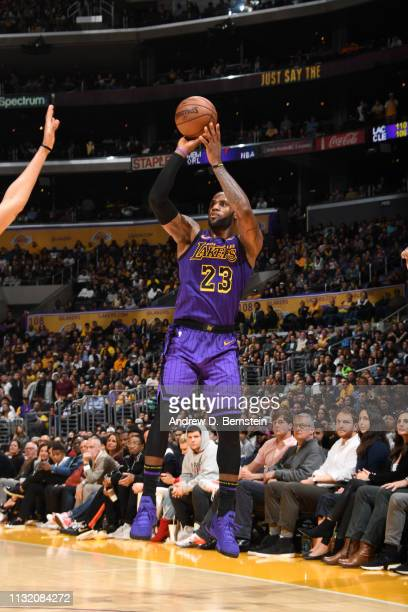 LeBron James of the Los Angeles Lakers shoots a threepointer against the Brooklyn Nets on March 22 2019 at STAPLES Center in Los Angeles California...