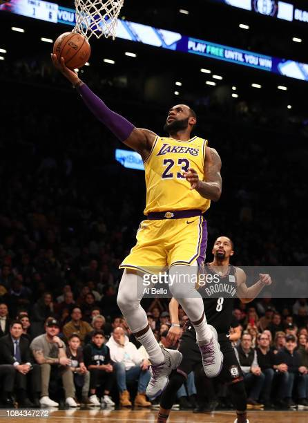 LeBron James of the Los Angeles Lakers shoots against the Brooklyn Nets during their game at the Barclays Center on December 18 2018 in New York City