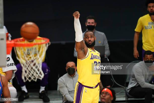 LeBron James of the Los Angeles Lakers shoots against the Oklahoma City Thunder in the first half at Staples Center on February 08, 2021 in Los...