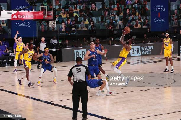 LeBron James of the Los Angeles Lakers shoots during the game against the Denver Nuggets in Game one of the Western Conference Finals of the 2020...