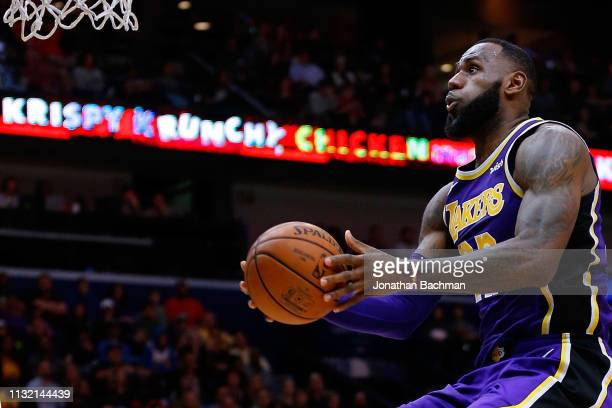 LeBron James of the Los Angeles Lakers shoots during the second half against the New Orleans Pelicans at the Smoothie King Center on February 23 2019...