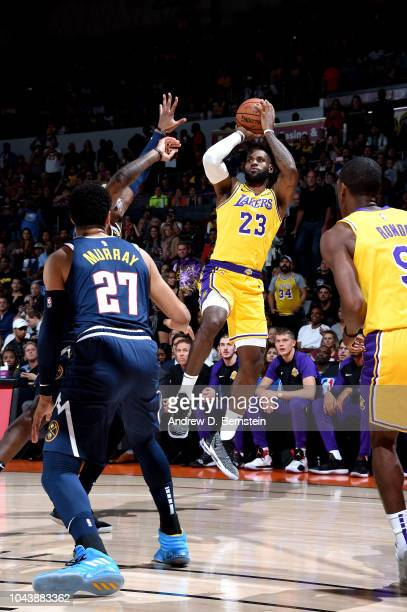 LeBron James of the Los Angeles Lakers shoots the ball against the Denver Nuggets during a preseason game on September 30 2018 at Valley View Casino...