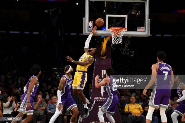 LeBron James of the Los Angeles Lakers shoots the ball against the Sacramento Kings during a preseason game on October 4 2018 at Staples Center in...