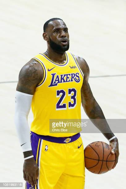 LeBron James of the Los Angeles Lakers shoots the ball against the Denver Nuggets on September 30 2018 at Valley View Casino Center in San Diego...