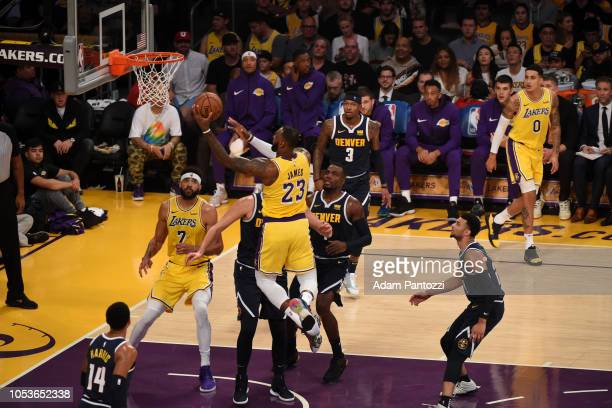 LeBron James of the Los Angeles Lakers shoots the ball against the Denver Nuggets on October 25 2018 at Staples Center in Los Angeles California NOTE...