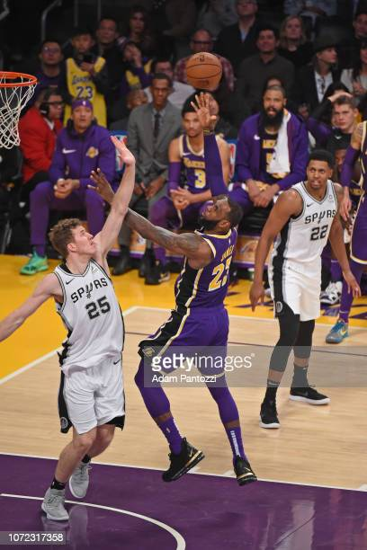 LeBron James of the Los Angeles Lakers shoots the ball against the San Antonio Spurs on December 5 2018 at STAPLES Center in Los Angeles California...