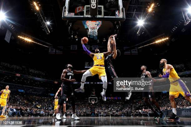 LeBron James of the Los Angeles Lakers shoots the ball against the Brooklyn Nets on December 18 2018 at Barclays Center in Brooklyn New York NOTE TO...