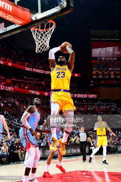 LeBron James of the Los Angeles Lakers shoots the ball against the Atlanta Hawks on February 12 2019 at State Farm Arena in Atlanta Georgia NOTE TO...