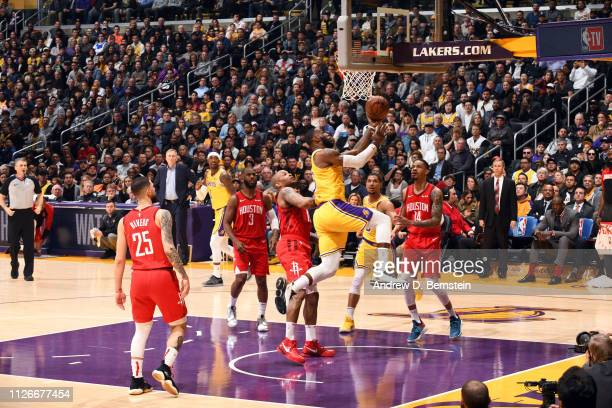 LeBron James of the Los Angeles Lakers shoots the ball against the Houston Rockets on February 21 2019 at STAPLES Center in Los Angeles California...