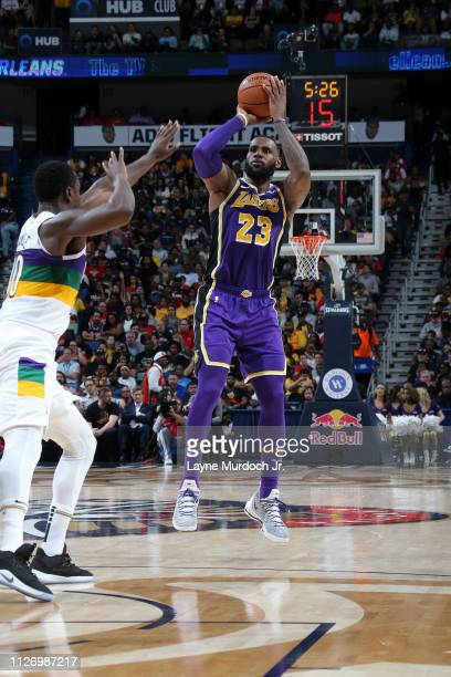 LeBron James of the Los Angeles Lakers shoots the ball against the New Orleans Pelicans on February 23 2019 at the Smoothie King Center in New...