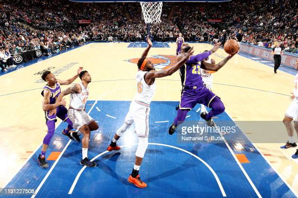 LeBron James of the Los Angeles Lakers shoots the ball against the New York Knicks on March 17 2019 at Madison Square Garden in New York City New...