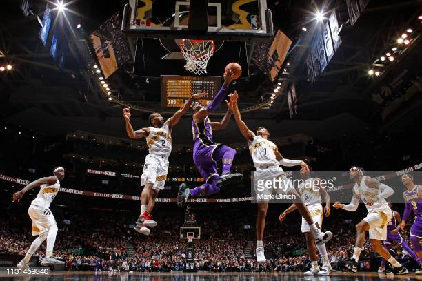 LeBron James of the Los Angeles Lakers shoots the ball against the Toronto Raptors on March 14 2019 at the Scotiabank Arena in Toronto Ontario Canada...