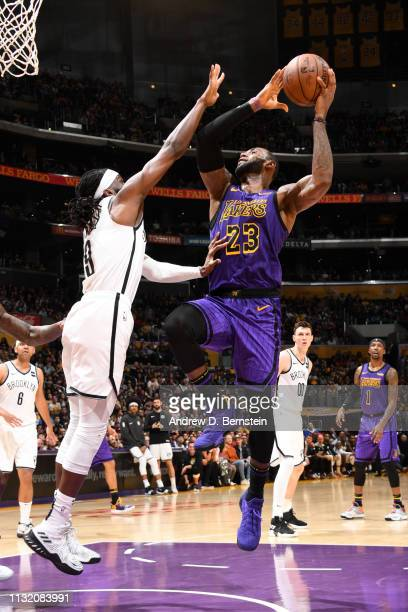 LeBron James of the Los Angeles Lakers shoots the ball against the Brooklyn Nets on March 22 2019 at STAPLES Center in Los Angeles California NOTE TO...