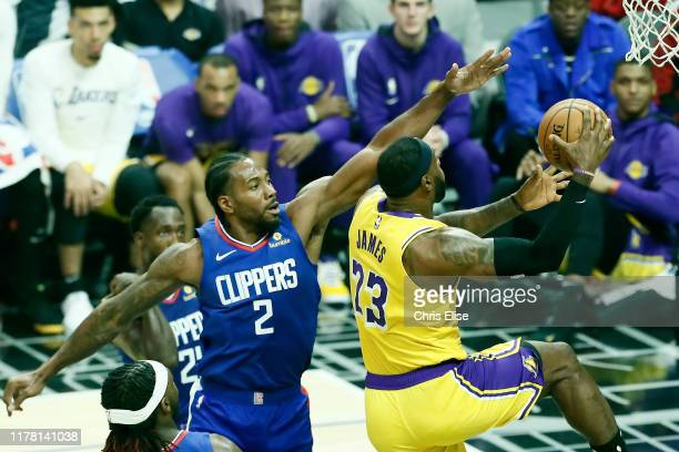 LeBron James of the Los Angeles Lakers shoots the ball against the LA Clippers on October 22 2019 at STAPLES Center in Los Angeles California NOTE TO...