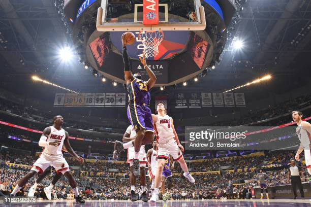LeBron James of the Los Angeles Lakers shoots the ball against the Miami Heat on November 8 2019 at STAPLES Center in Los Angeles California NOTE TO...