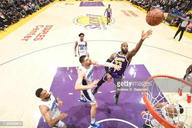 LeBron James of the Los Angeles Lakers shoots the ball against the Orlando Magic on January 15 2020 at STAPLES Center in Los Angeles California NOTE...