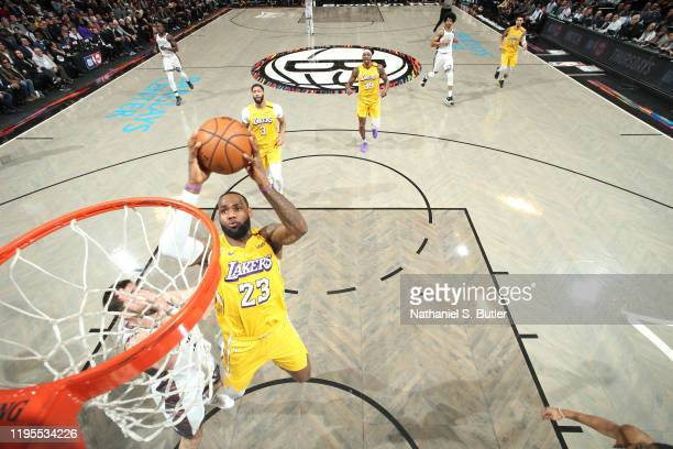 LeBron James of the Los Angeles Lakers shoots the ball against the Brooklyn Nets on January 23 2020 at Barclays Center in Brooklyn New York NOTE TO...