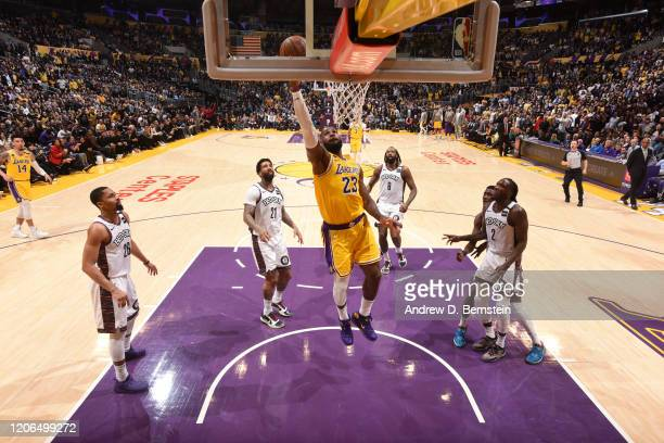 LeBron James of the Los Angeles Lakers shoots the ball against the Brooklyn Nets on March 10 2020 at STAPLES Center in Los Angeles California NOTE TO...
