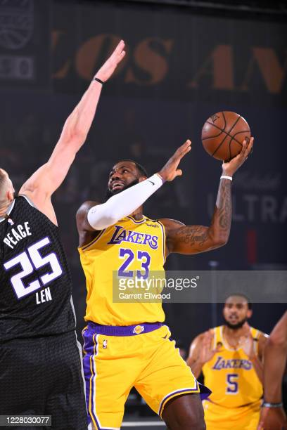 LeBron James of the Los Angeles Lakers shoots the ball against the Sacramento Kings on August 13 2020 at The Field House in Orlando Florida NOTE TO...
