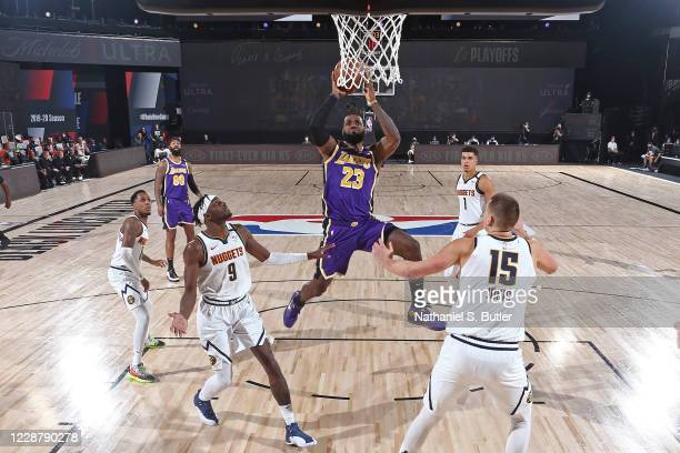 LeBron James of the Los Angeles Lakers shoots the ball against the Denver Nuggets during Game Five of the Western Conference Finals of the NBA...