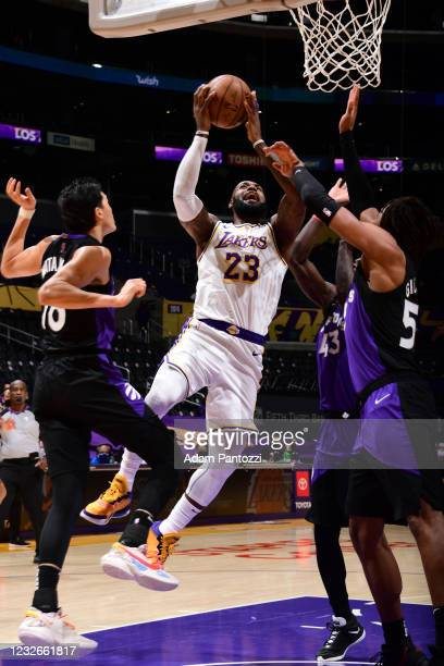 LeBron James of the Los Angeles Lakers shoots the ball against the Toronto Raptors on May 2, 2021 at STAPLES Center in Los Angeles, California. NOTE...