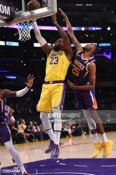 LeBron James of the Los Angeles Lakers shoots the ball against the Phoenix Suns during Round 1, Game 3 of the 2021 NBA Playoffs on May 27, 2021 at...