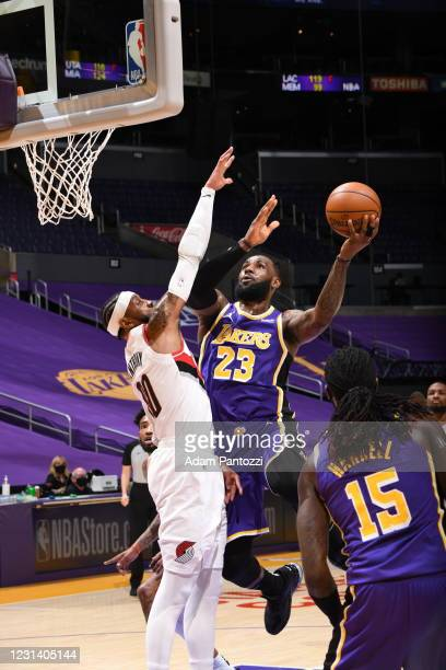 LeBron James of the Los Angeles Lakers shoots the ball during the game against the Portland Trail Blazers on February 26, 2021 at STAPLES Center in...
