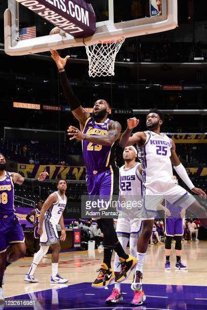 LeBron James of the Los Angeles Lakers shoots the ball during the game against the Sacramento Kings on April 30, 2021 at STAPLES Center in Los...