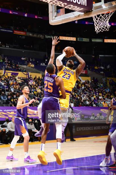 LeBron James of the Los Angeles Lakers shoots the ball during the game against the Phoenix Suns during Round 1, Game 3 of the 2021 NBA Playoffs on...