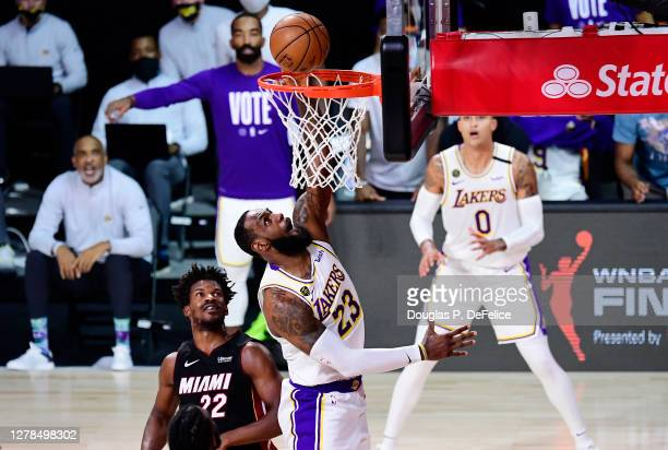 LeBron James of the Los Angeles Lakers shoots the ball during the first half against the Miami Heat in Game Three of the 2020 NBA Finals at...
