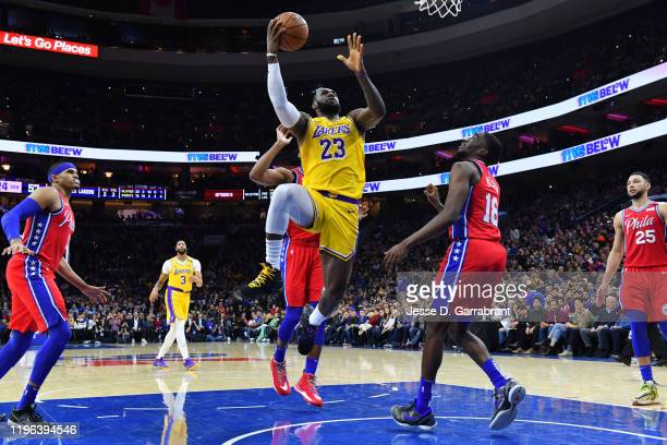LeBron James of the Los Angeles Lakers shoots the ball to pass Kobe Bryant for third on NBA's alltime scoring list on January 25 2020 at the Wells...