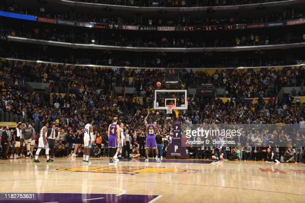 LeBron James of the Los Angeles Lakers shoots the free throw to win the game against the Sacramento Kings on November 15 2019 at STAPLES Center in...