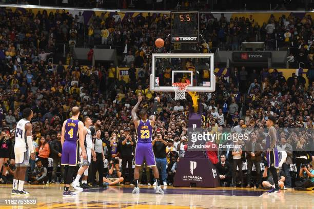 LeBron James of the Los Angeles Lakers shoots the free throw to win the game against the Sacramento Kings on November 15, 2019 at STAPLES Center in...