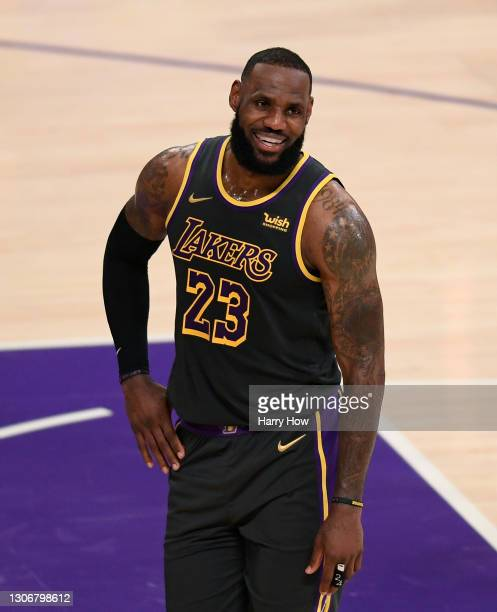 LeBron James of the Los Angeles Lakers smiles during a 105-100 Lakers win over the Indiana Pacers at Staples Center on March 12, 2021 in Los Angeles,...