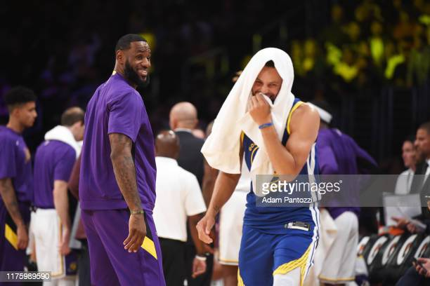 LeBron James of the Los Angeles Lakers smiles during a preseason game against the Golden State Warriors on October 14 2019 at STAPLES Center in Los...