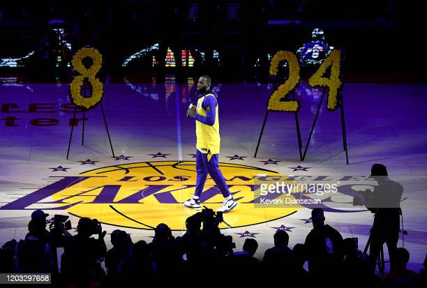 LeBron James of the Los Angeles Lakers speaks during the pregame ceremony to honor Kobe Bryant before the game against the Portland Trail Blazers at...