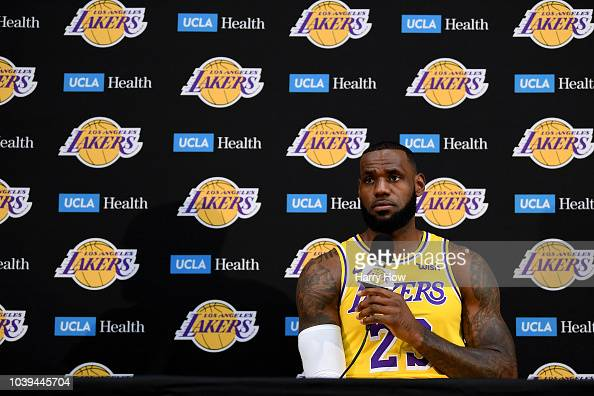 b02699e8c LeBron James of the Los Angeles Lakers speaks to the media during the...  News Photo - Getty Images