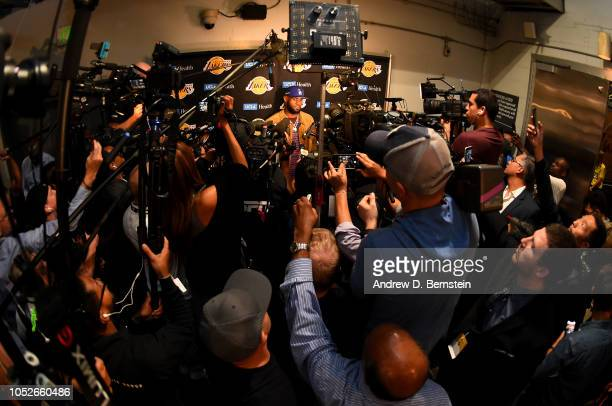 LeBron James of the Los Angeles Lakers talks to the media after the game against the Houston Rockets on October 20 2018 at STAPLES Center in Los...