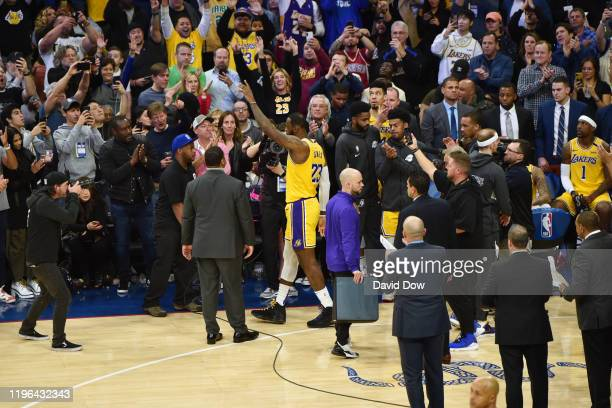 LeBron James of the Los Angeles Lakers thanks the crowd after passing Kobe Bryant for third on NBA's alltime scoring list on January 25 2020 at the...