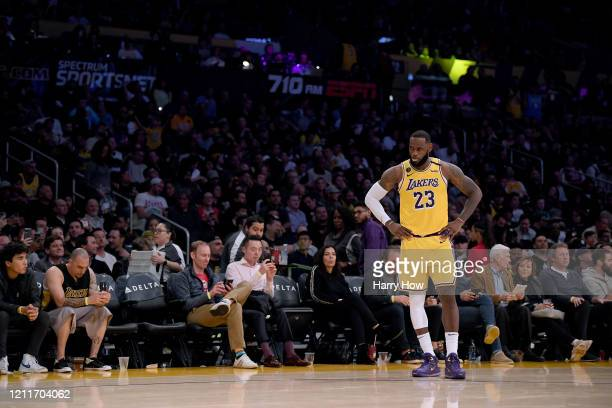 LeBron James of the Los Angeles Lakers waits during a 104102 Brooklyn Nets win at Staples Center on March 10 2020 in Los Angeles California NOTE TO...
