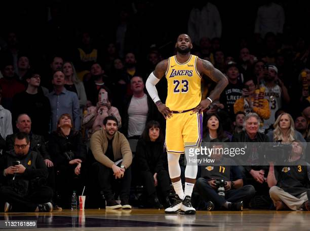 LeBron James of the Los Angeles Lakers waits for the start of play during a 111106 Lakers win over the Houston Rockets at Staples Center on February...