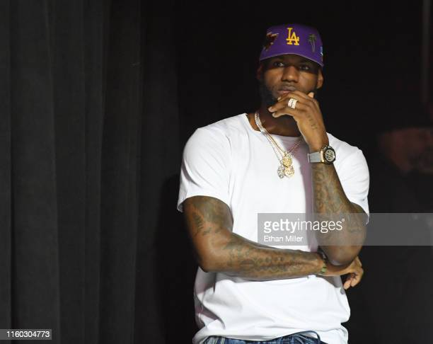 LeBron James of the Los Angeles Lakers waits to walk out to the court for a game between the Chicago Bulls and the Lakers during the 2019 NBA Summer...