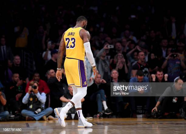 LeBron James of the Los Angeles Lakers walks off the court after a 143142 overtime loss to the San Antonio Spurs at Staples Center on October 22 2018...