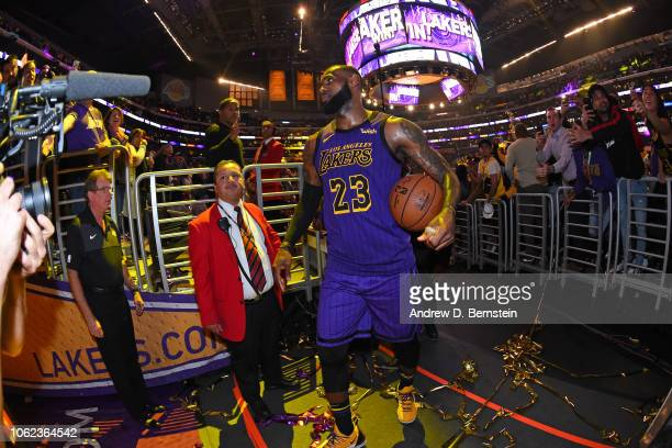 LeBron James of the Los Angeles Lakers walks off the court after the game against the Portland Trail Blazers on November 14 2018 at STAPLES Center in...