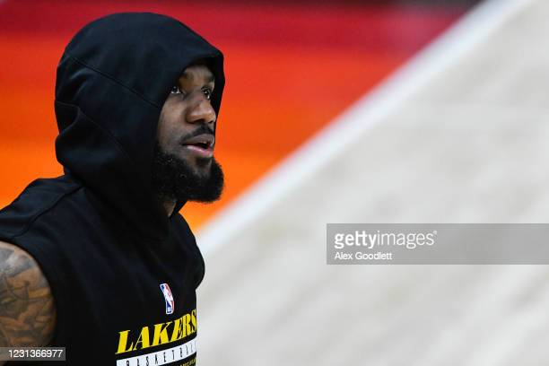 LeBron James of the Los Angeles Lakers warms up before a game against the Utah Jazz at Vivint Smart Home Arena on February 24, 2021 in Salt Lake...
