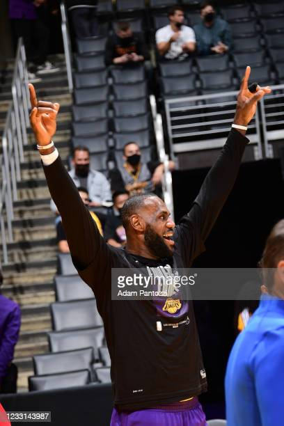 LeBron James of the Los Angeles Lakers warms up before the game Phoenix Suns during Round 1, Game 3 of the 2021 NBA Playoffs on May 27, 2021 at...