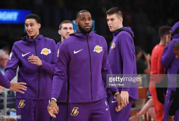 LeBron James of the Los Angeles Lakers warms up before the game against the Houston Rockets at Staples Center on October 20 2018 in Los Angeles...